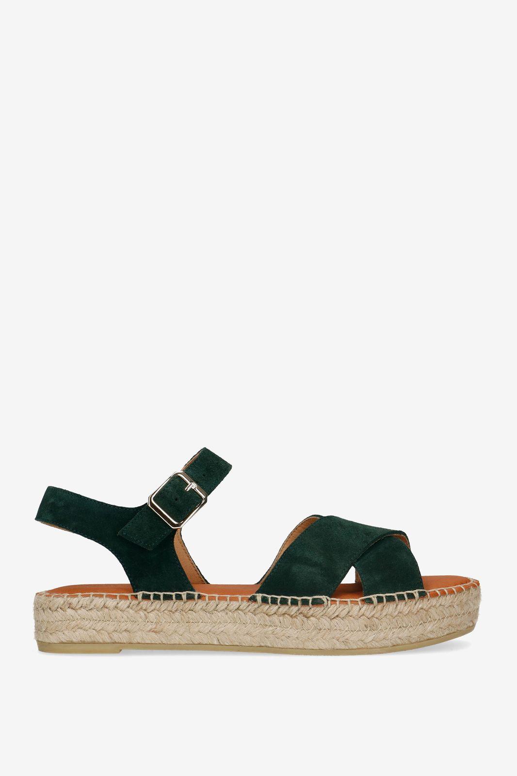 Donkergroene plateau sandalen Dames | Sissy Boy