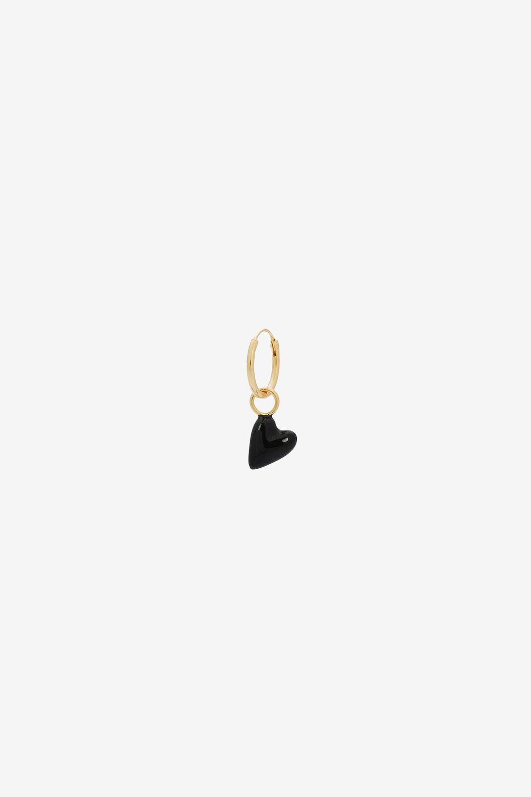 Anna+Nina single la muerta heart ring earring goldplated - Dames   Sissy-Boy