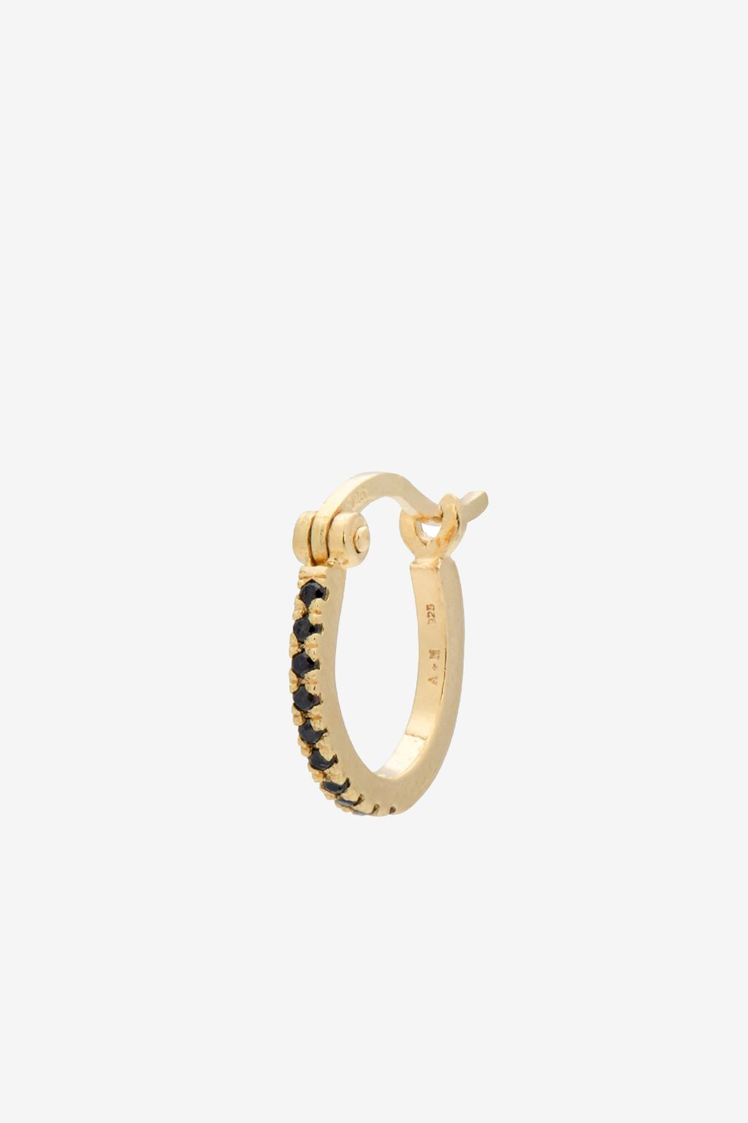 Anna+Nina Single Darkness Ring Earring Goldplated