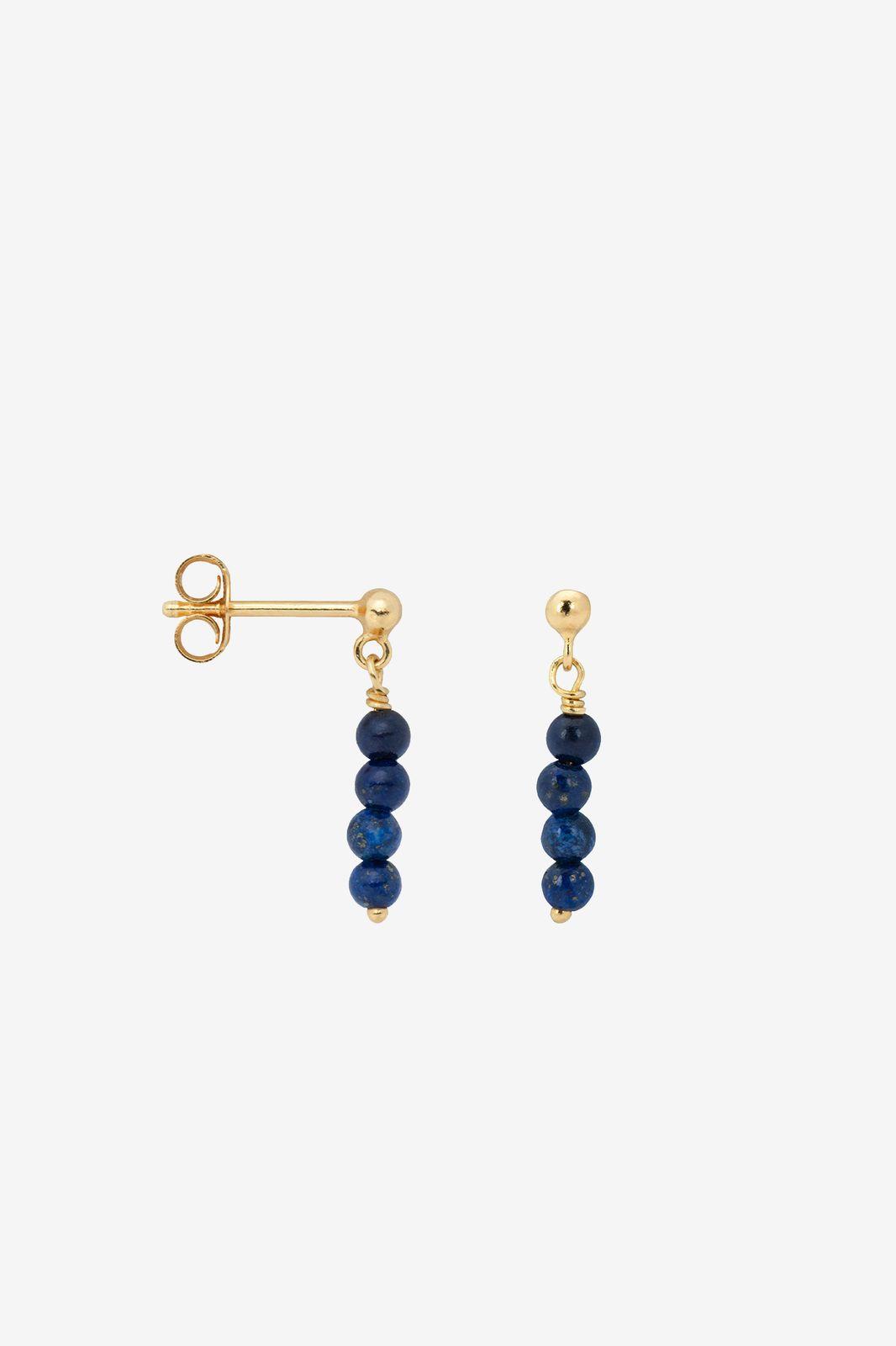 Anna+Nina Single Lapis Lazuli Rain Stud goldplated - Dames   Sissy-Boy