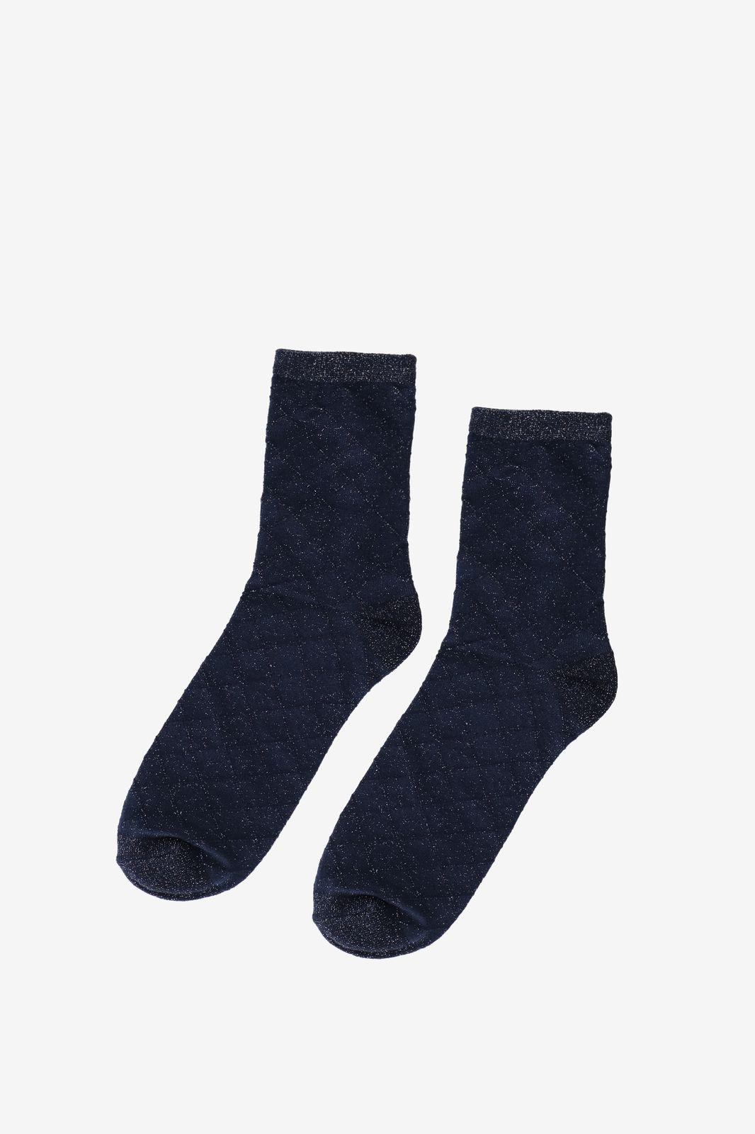 Becksöndergaard donkerblauwe sokken met lurex en ruit dessin - Dames | Sissy-Boy