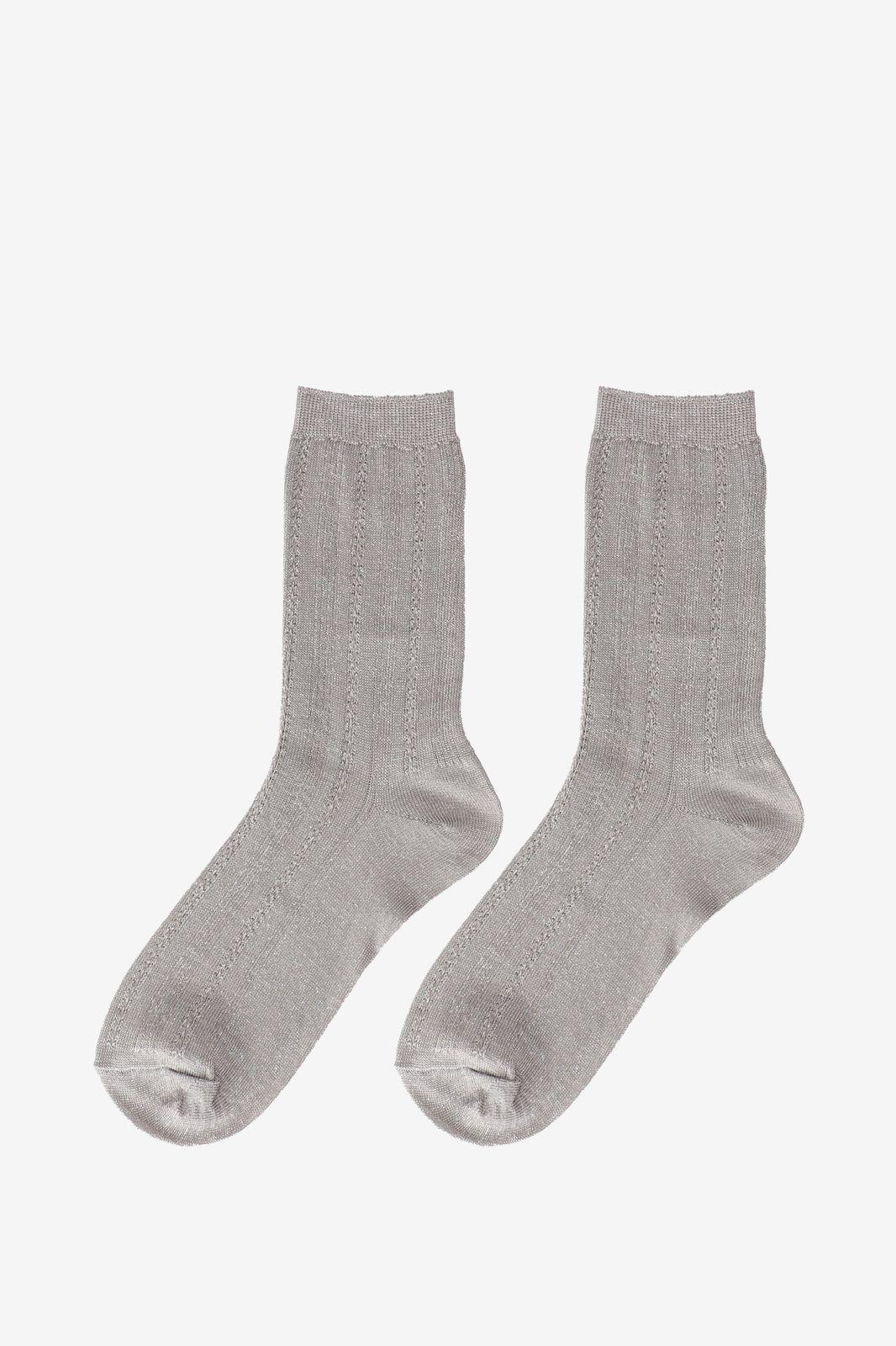Becksöndergaard Grijze glitter sokken Drake