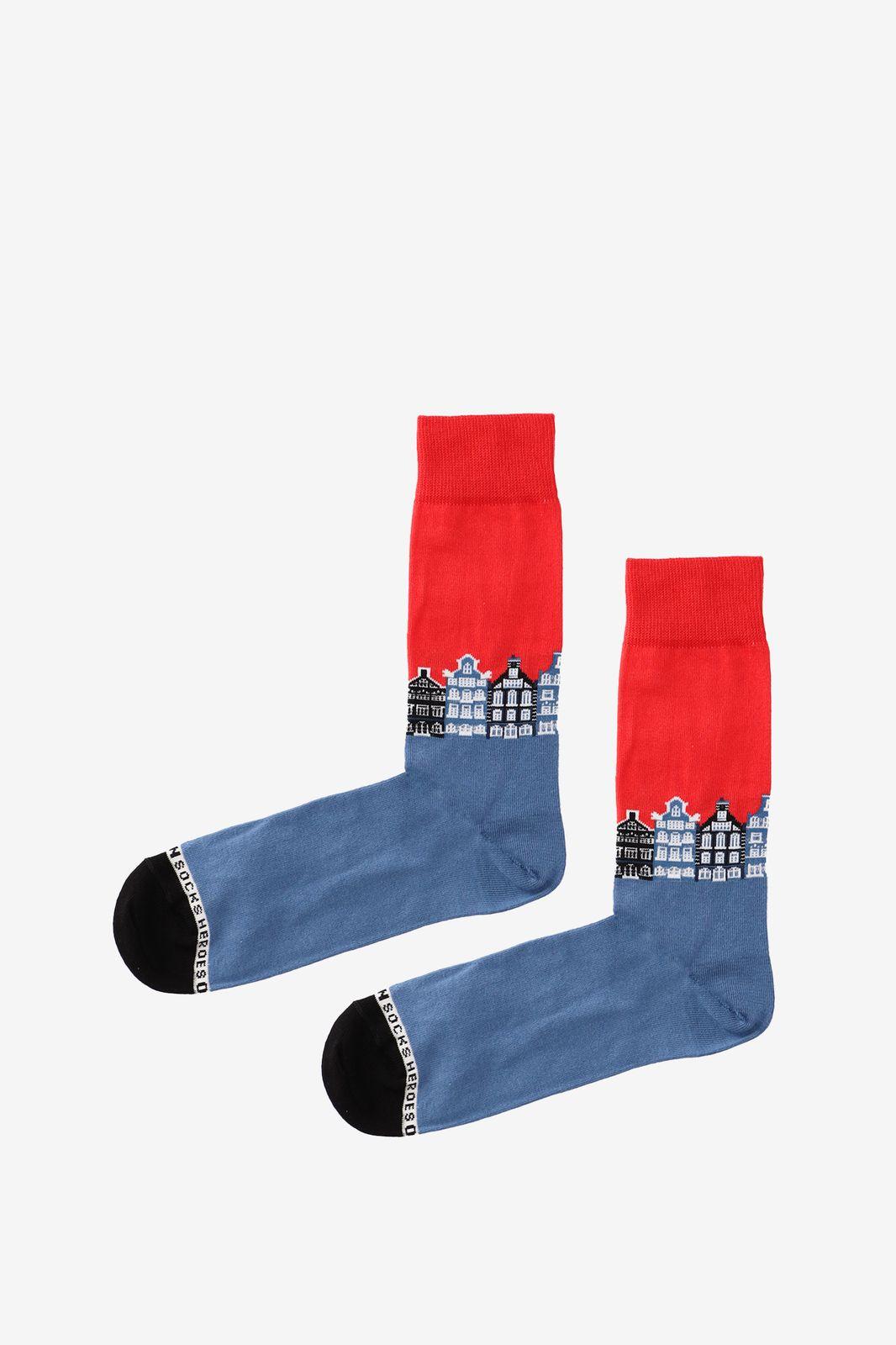 Rood met blauwe sokken grachten - Heren | Sissy-Boy