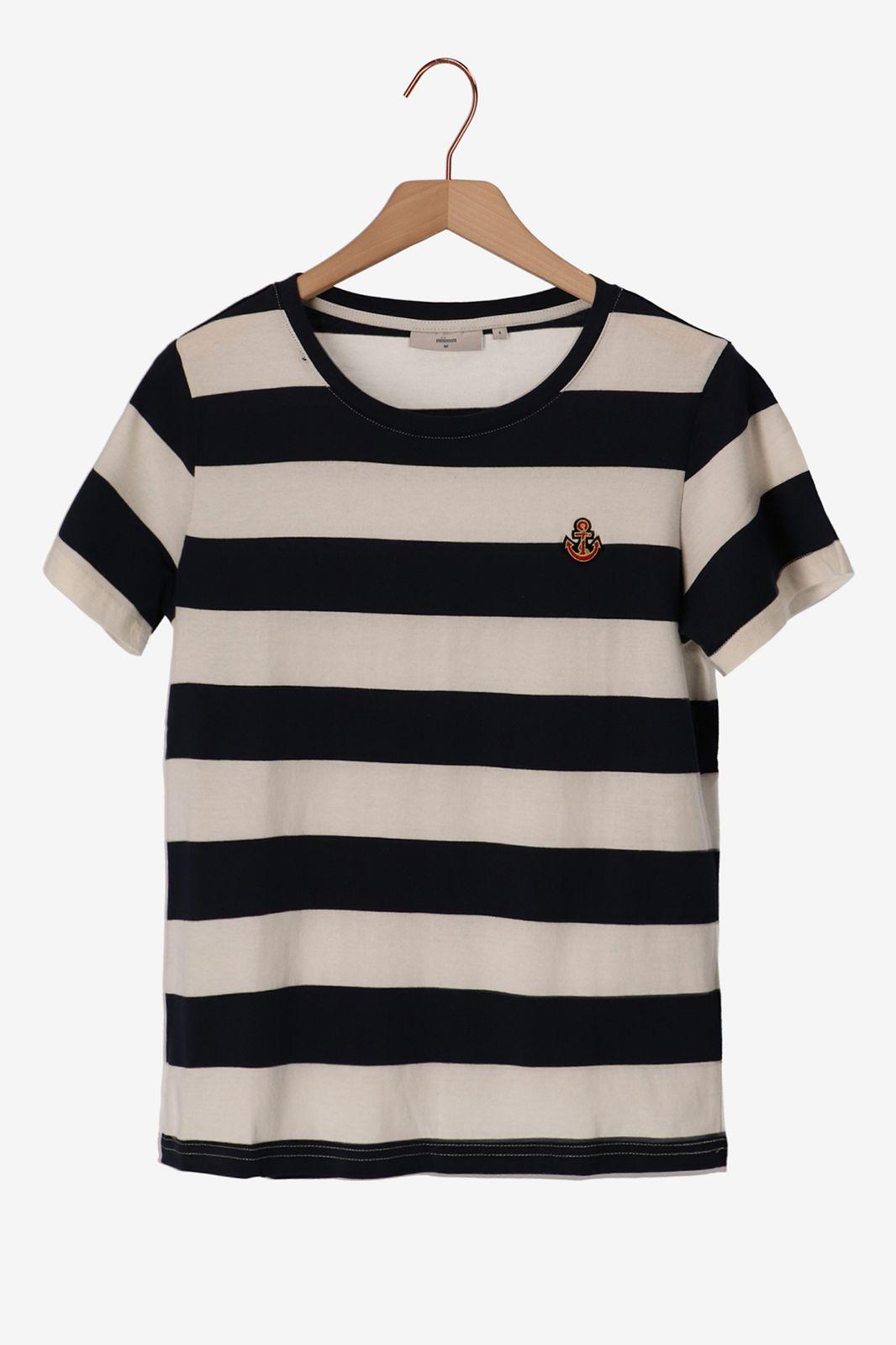 Minimum blauw/wit T-shirt gestreept