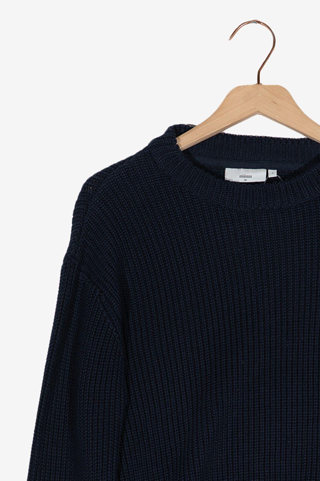 Minimum donkerblauwe gebreide trui