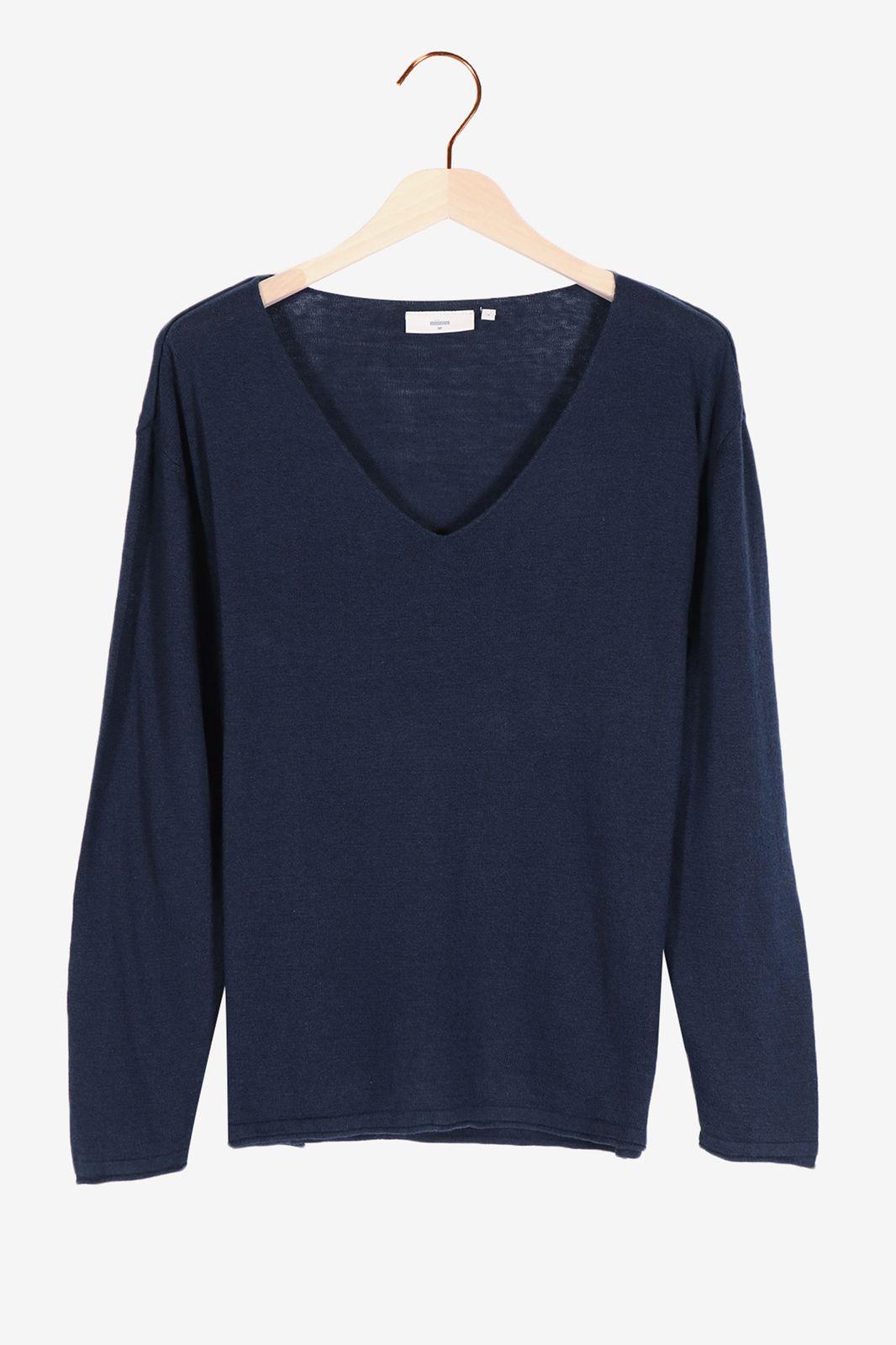 Donkerblauwe V-neck trui Minimum