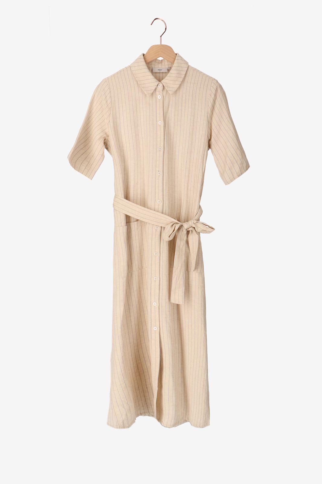 Minimum Off white gestreepte midi jurk
