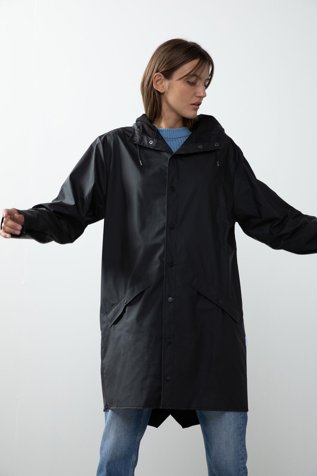 Rains 1202 Long Jacket Black - Dames | Sissy-Boy