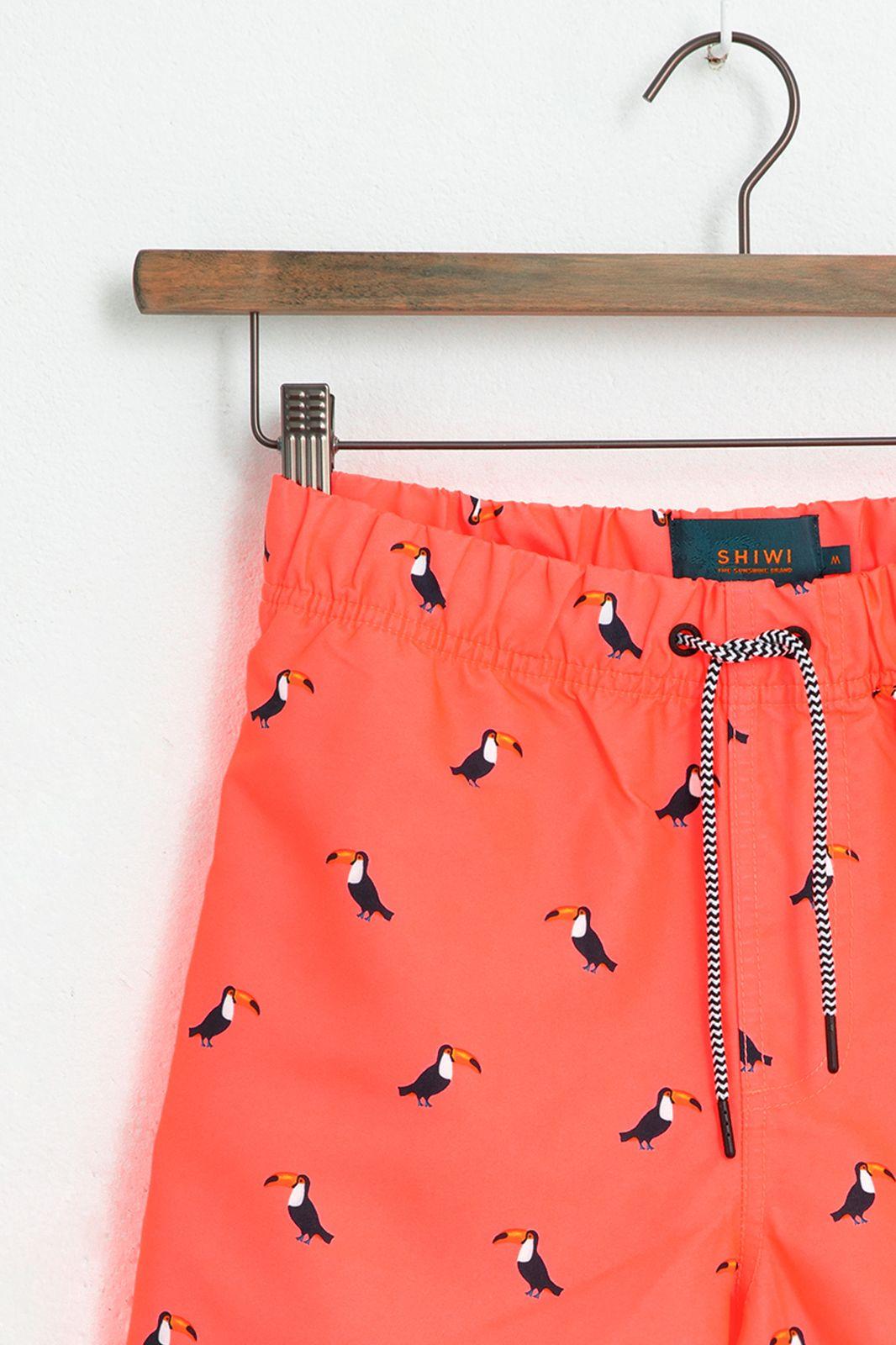 Oranje zwembroek met all over tucan print