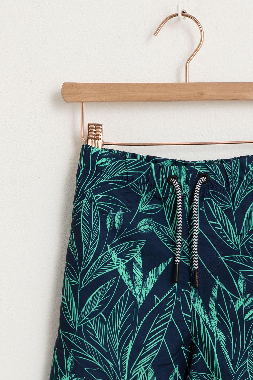 Blauwe zwembroek met all over palmblad print