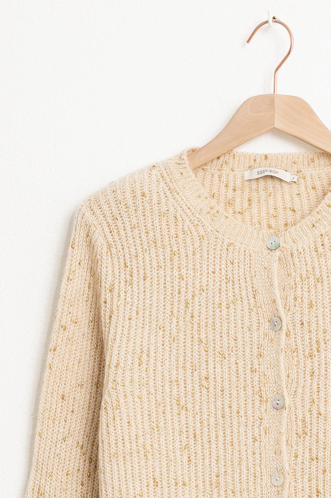 Beige knit lurex vest - Dames | Sissy-Boy