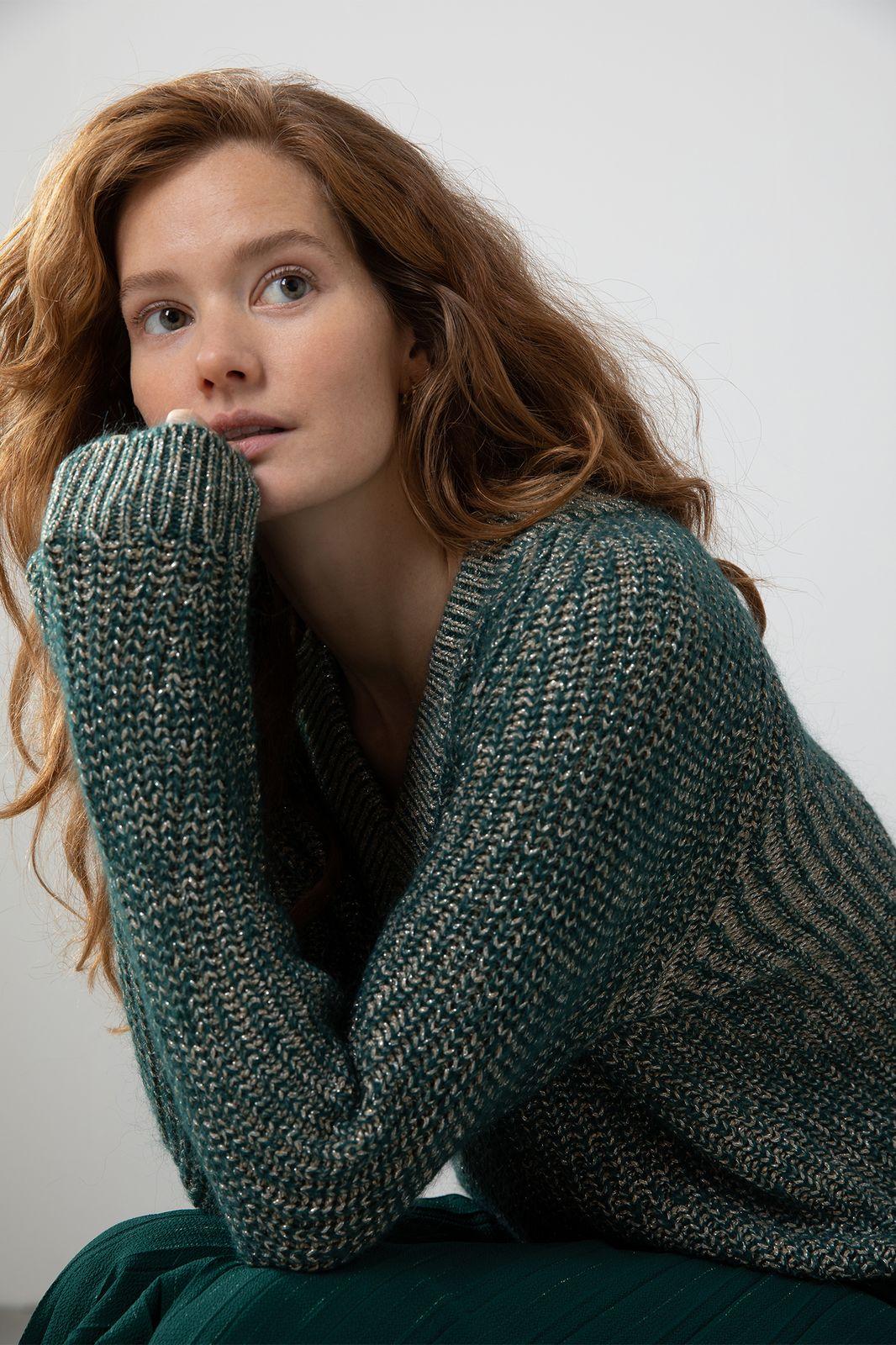 Groene trui met lurex details - Dames | Sissy-Boy