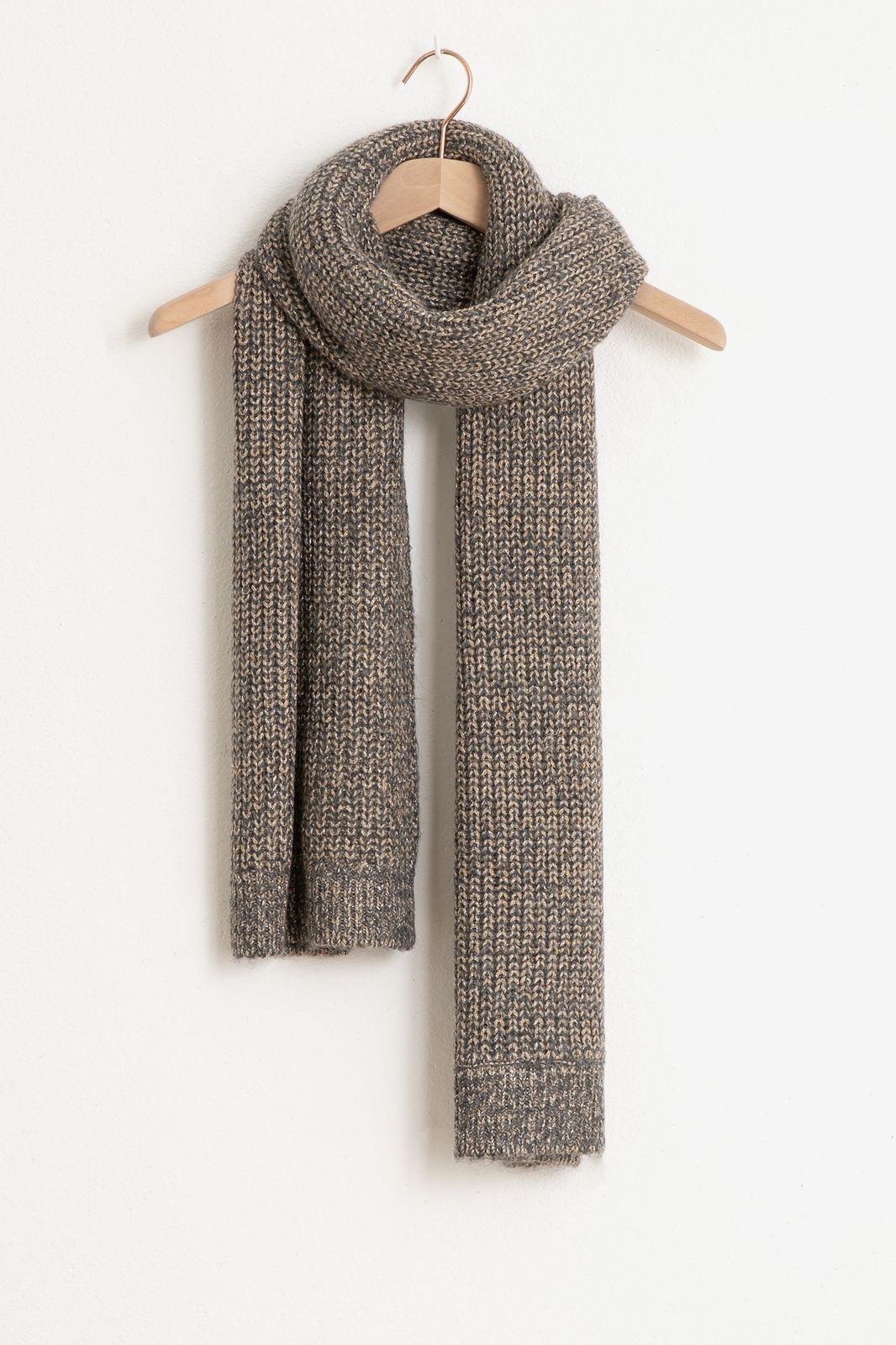 Grijze kabel sjaal met lurex - Dames | Sissy-Boy