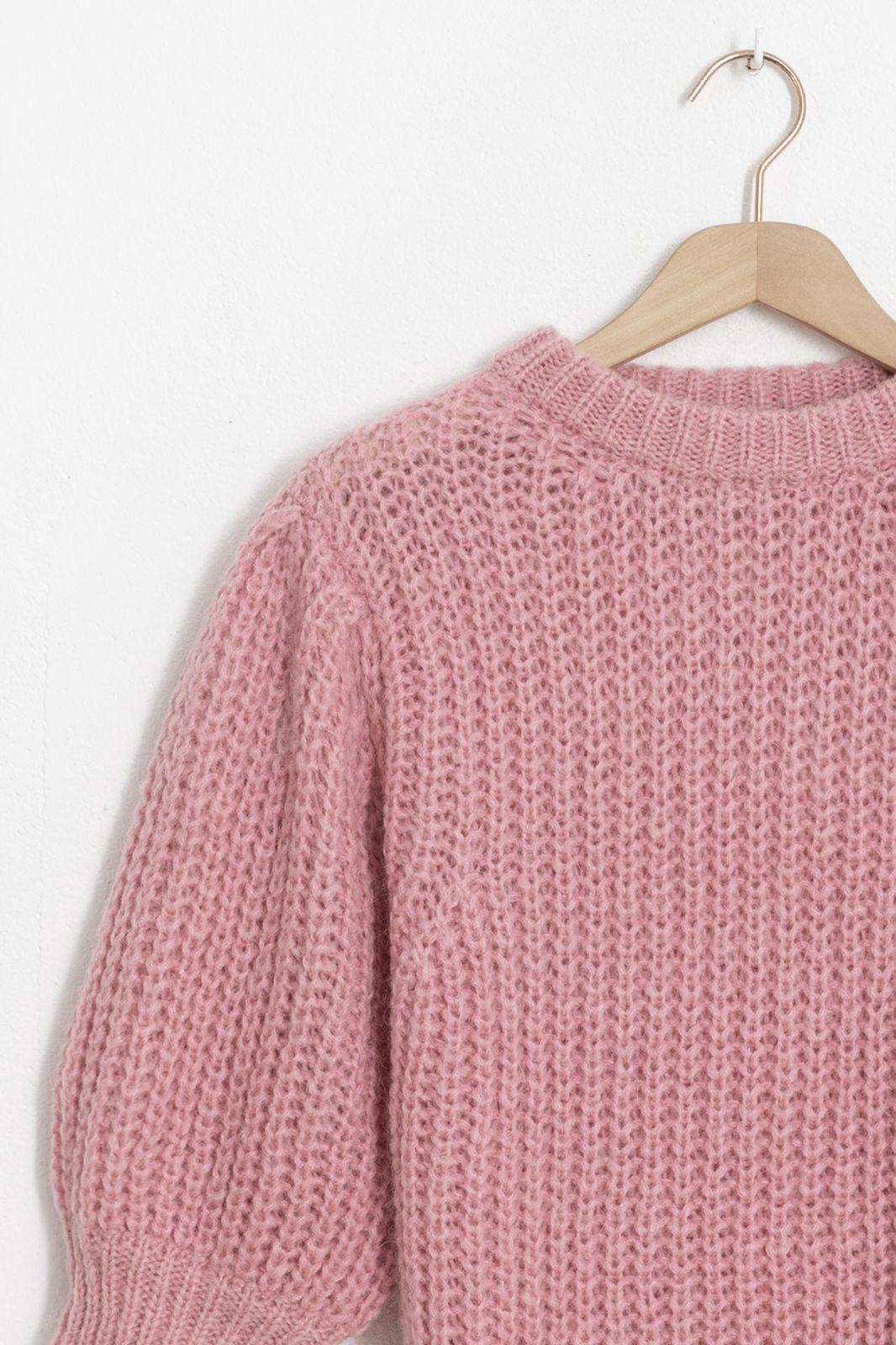 Roze knit sweater met pofmouwen - Dames | Sissy-Boy