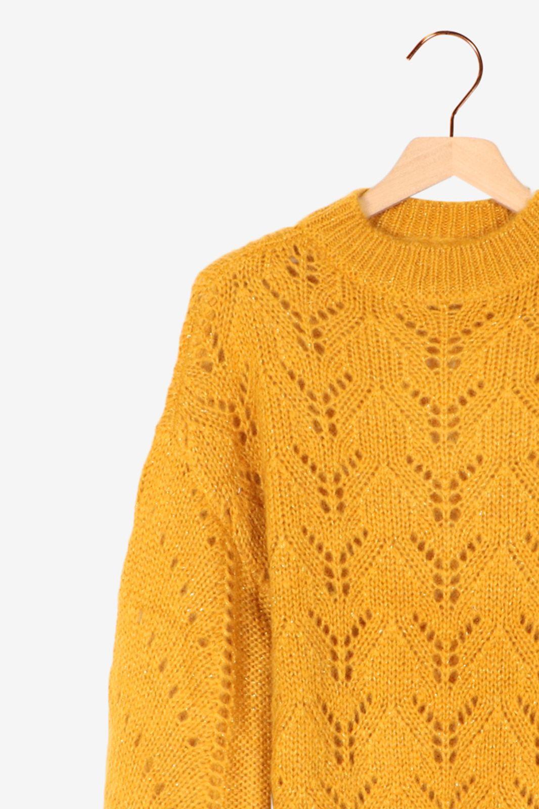 Oker gebreide trui met lurex