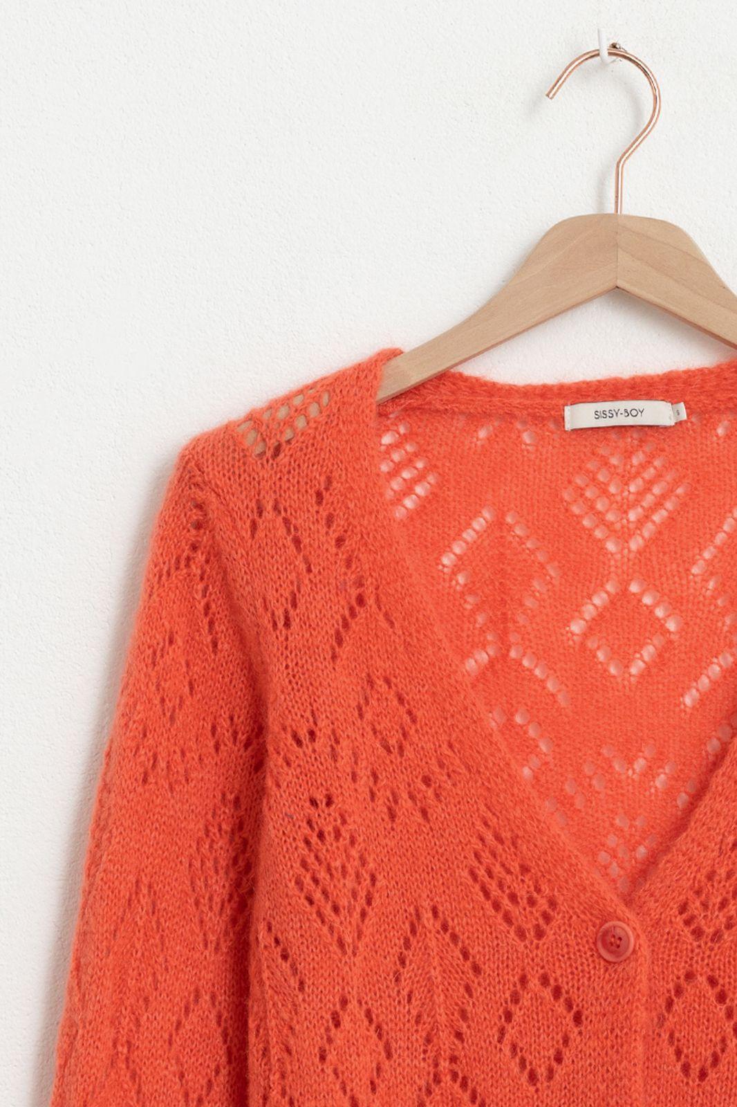 Oranje ajour v-neck vest - Dames | Sissy-Boy