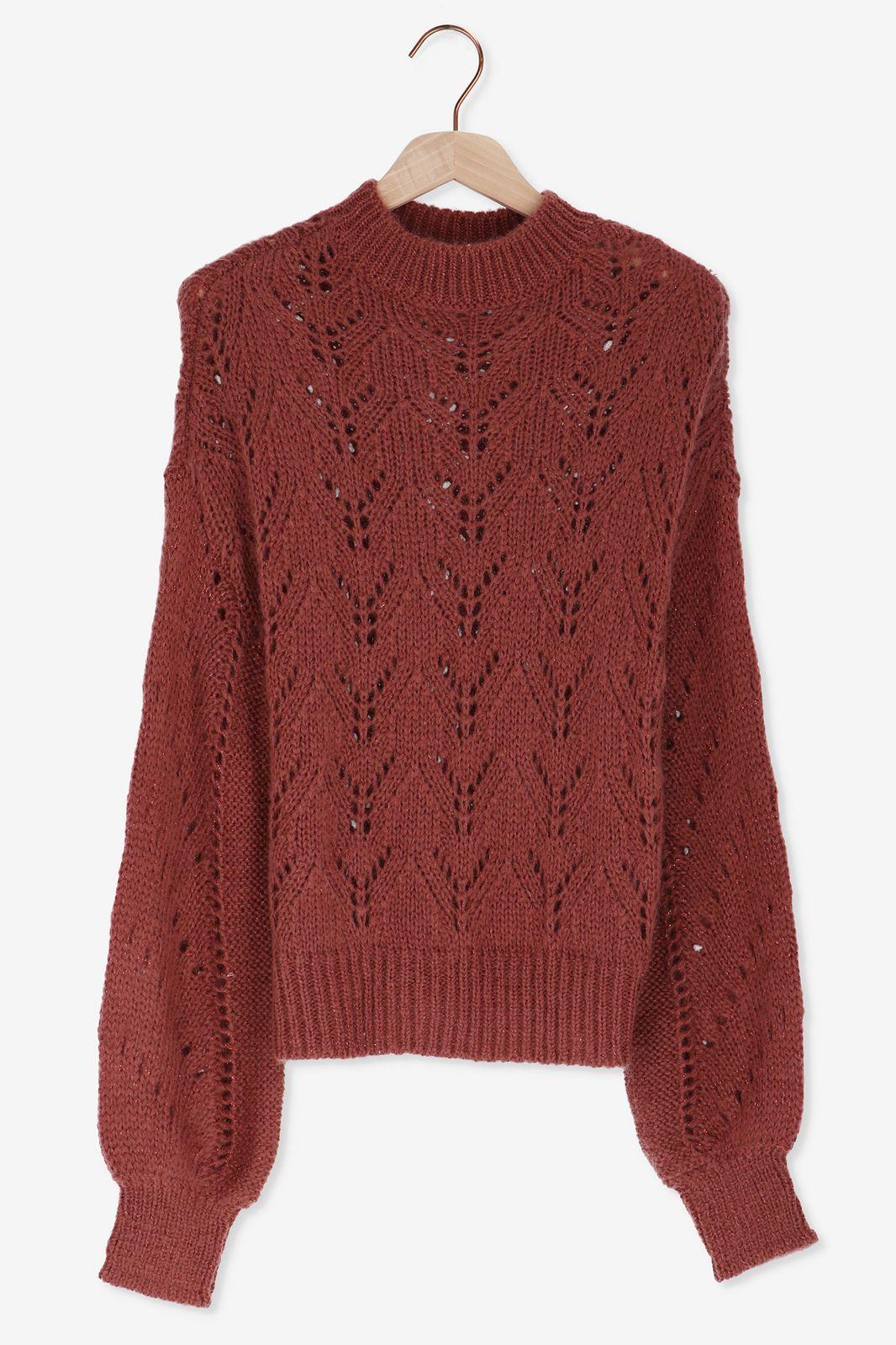 Oud roze gebreide trui met lurex