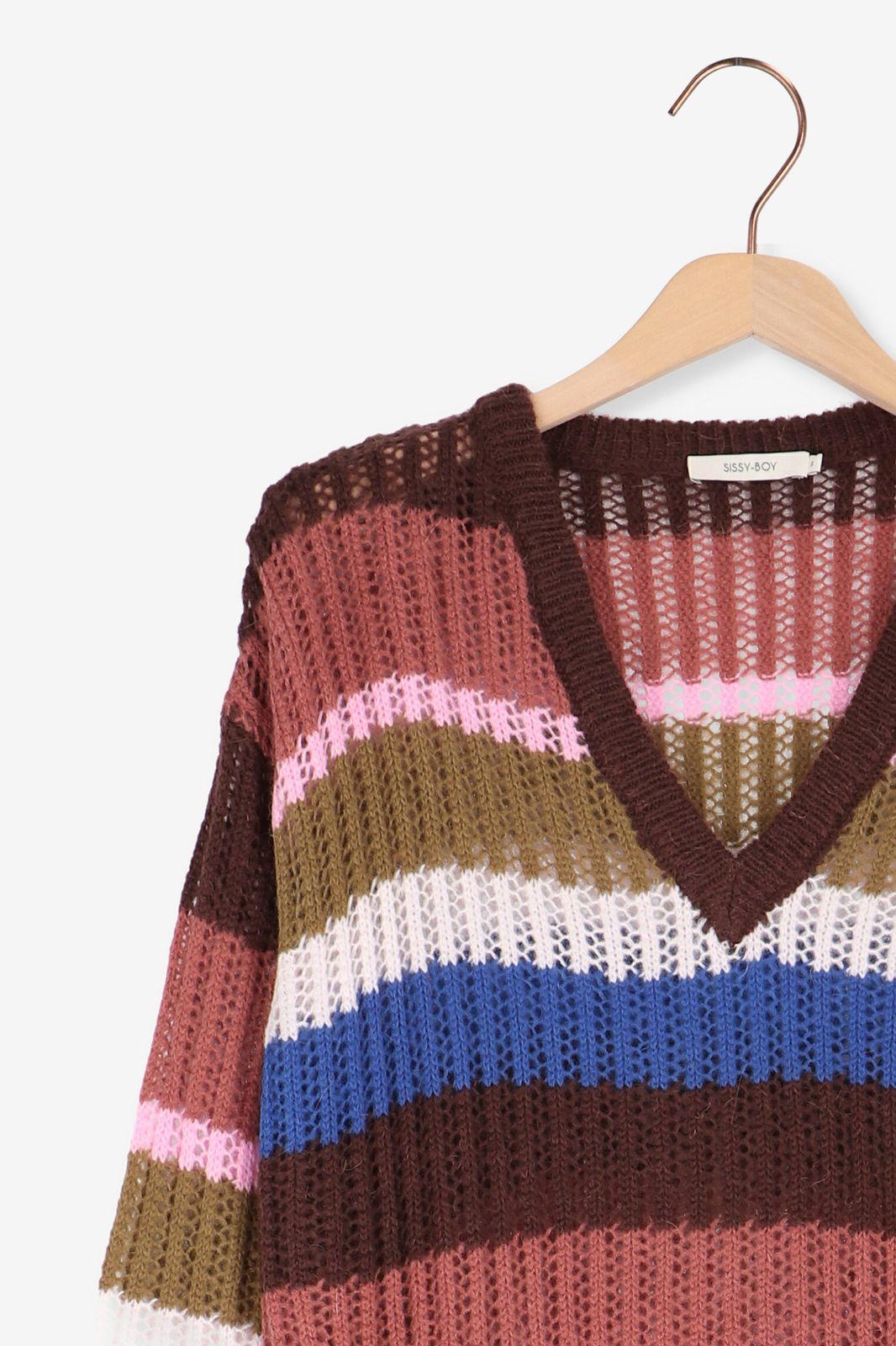 Multi-color gebreide trui