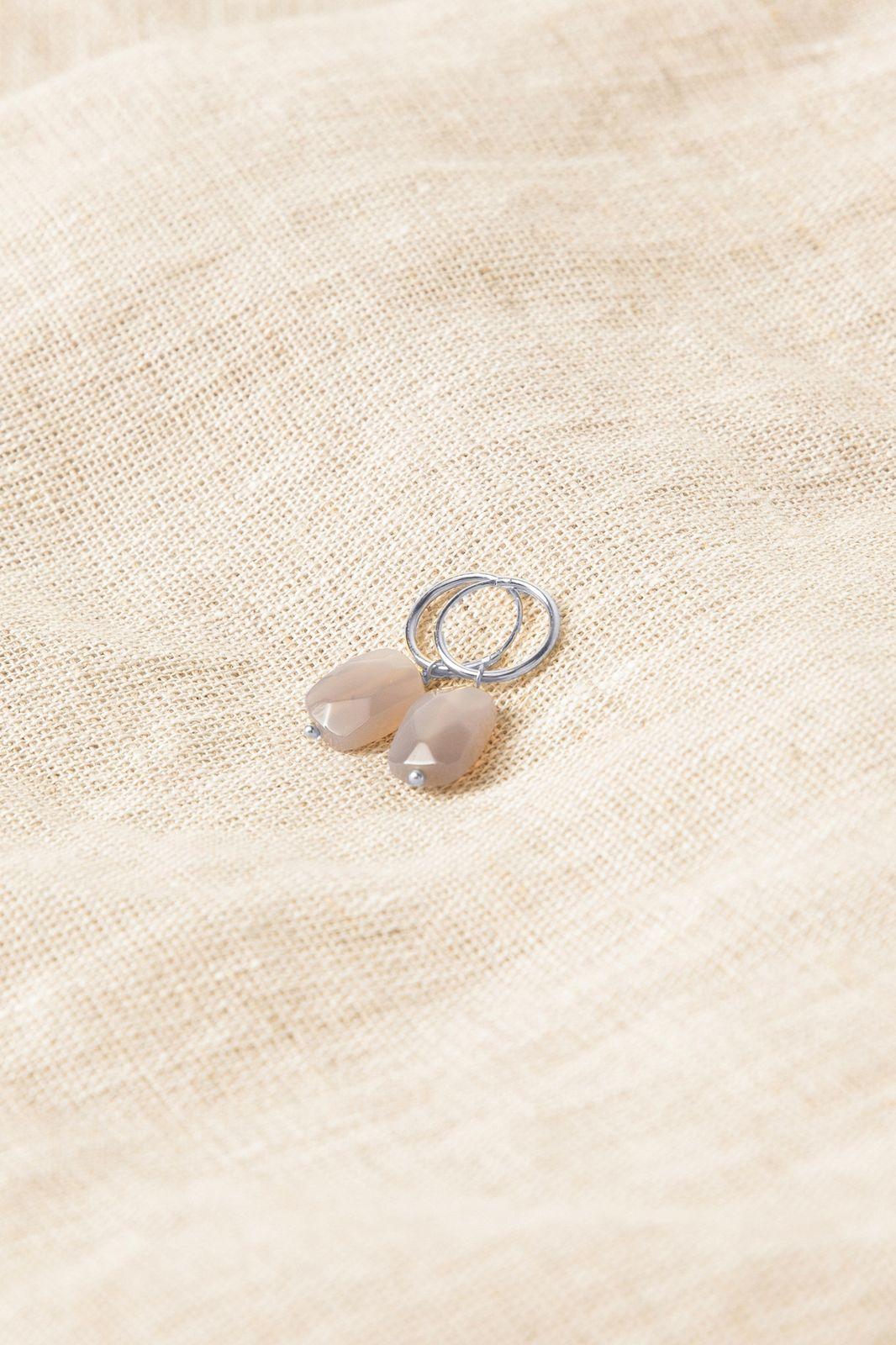 Boucles d'oreille avec petite pierre - argenté