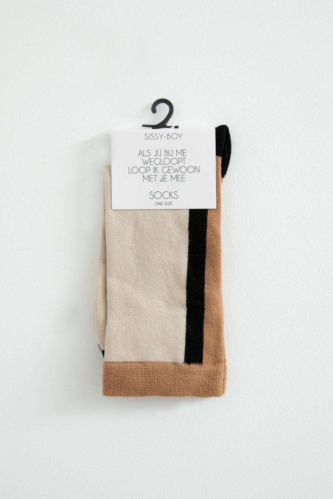 Bruine colorblock sokken - Dames   Sissy-Boy