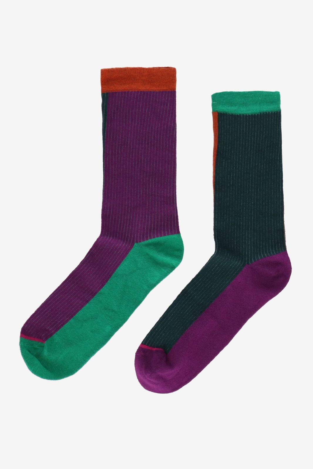 Bamboe sokken colorblock donkergroen - Dames | Sissy-Boy