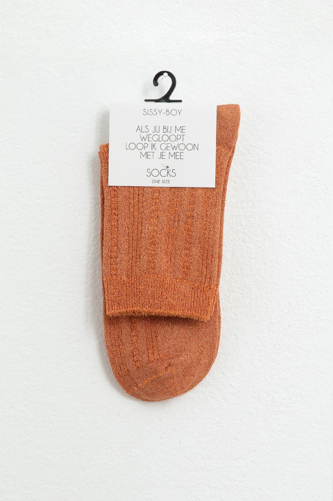 Oranje glitter ajour sokken - Dames | Sissy-Boy