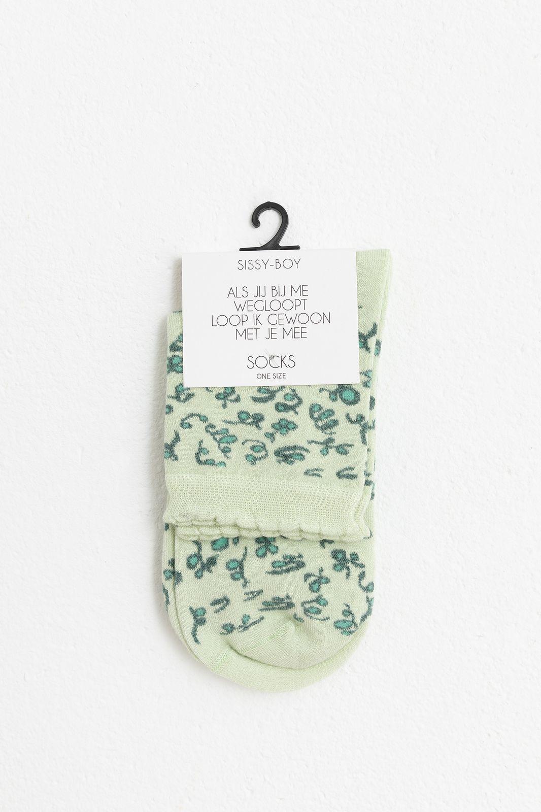 Groene sokken met scribble dessin