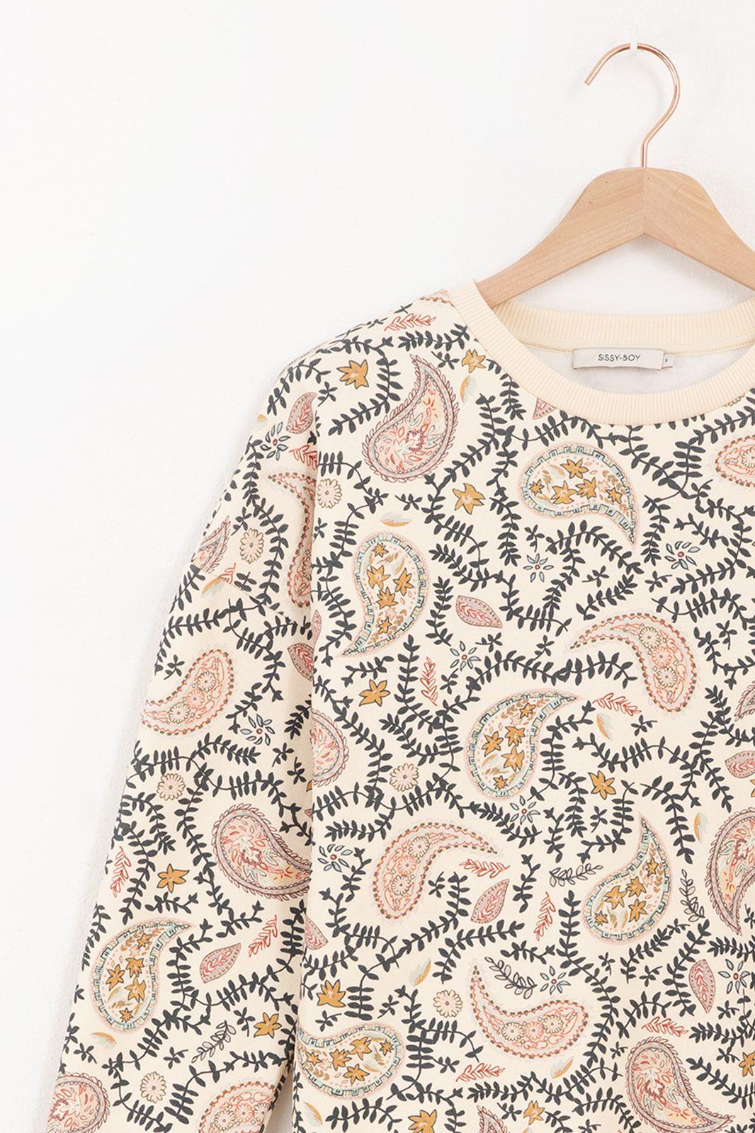 Witte trui met all over paisley print