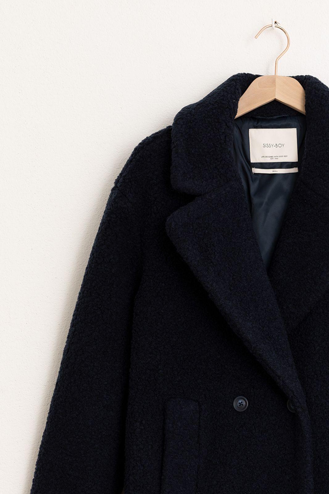 Donkerblauwe wollen jas