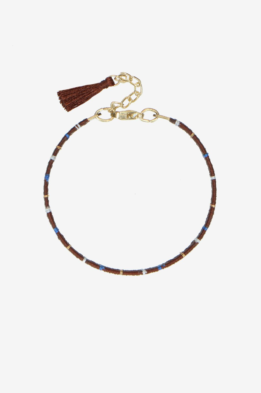 Bruin handmade armbandje met streep - Dames | Sissy-Boy