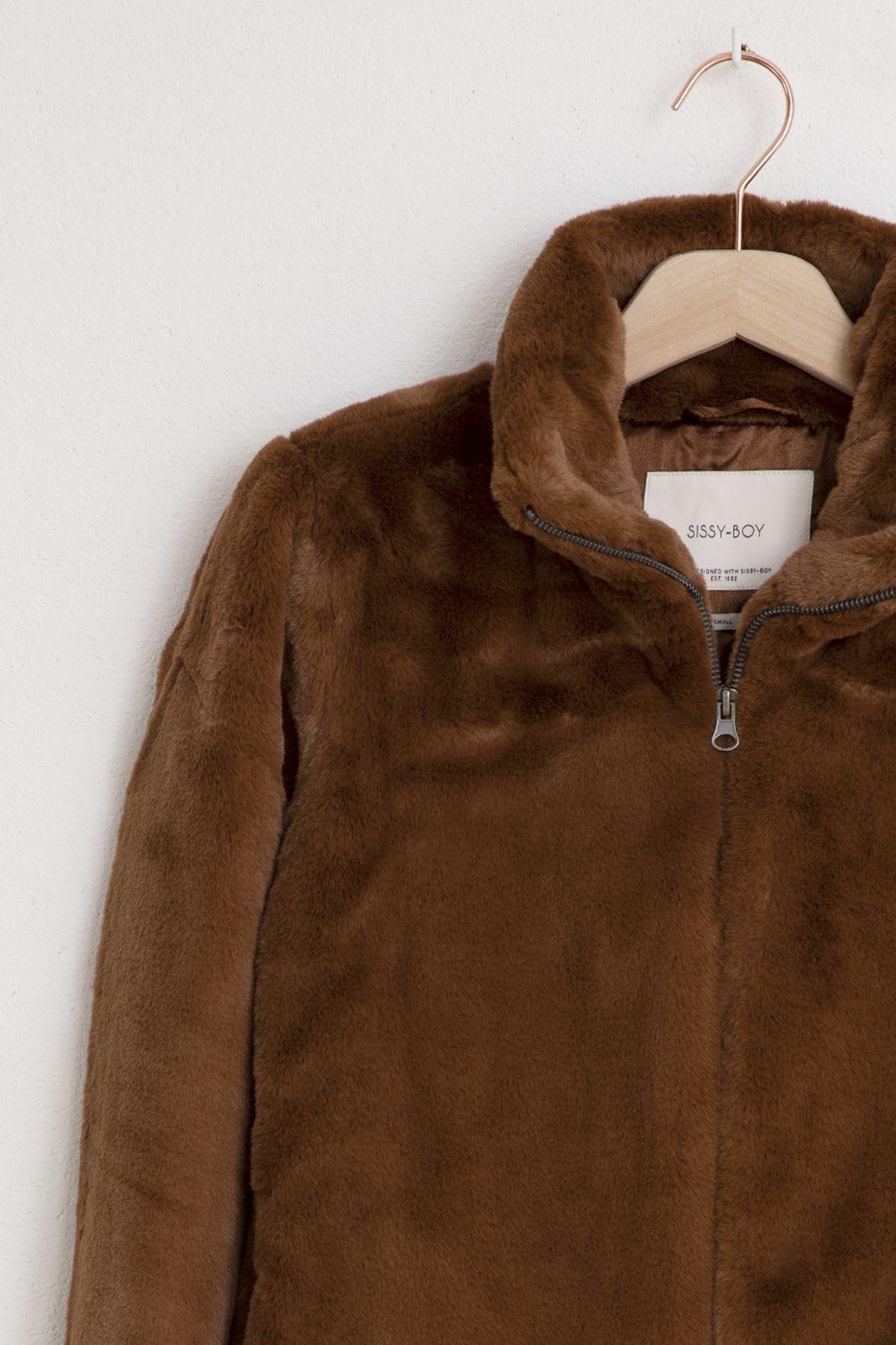 Bruine faux fur jas