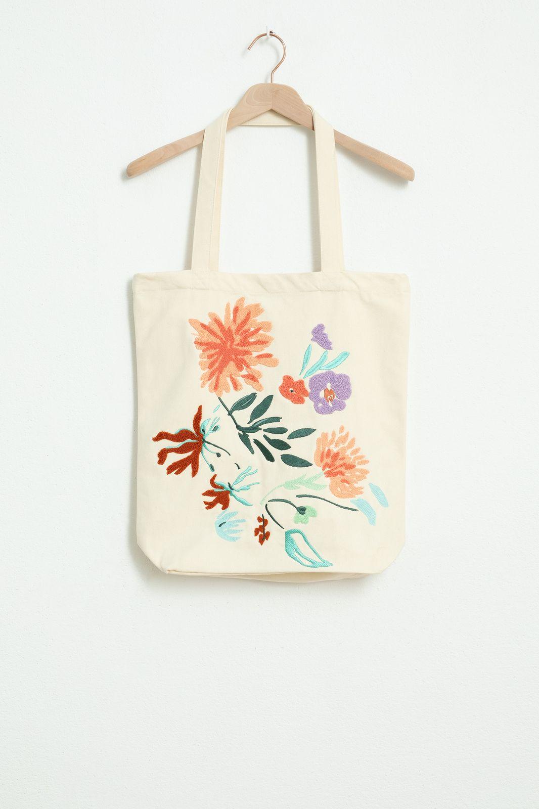 Beige shopper met bloemen embroidery - Dames | Sissy-Boy