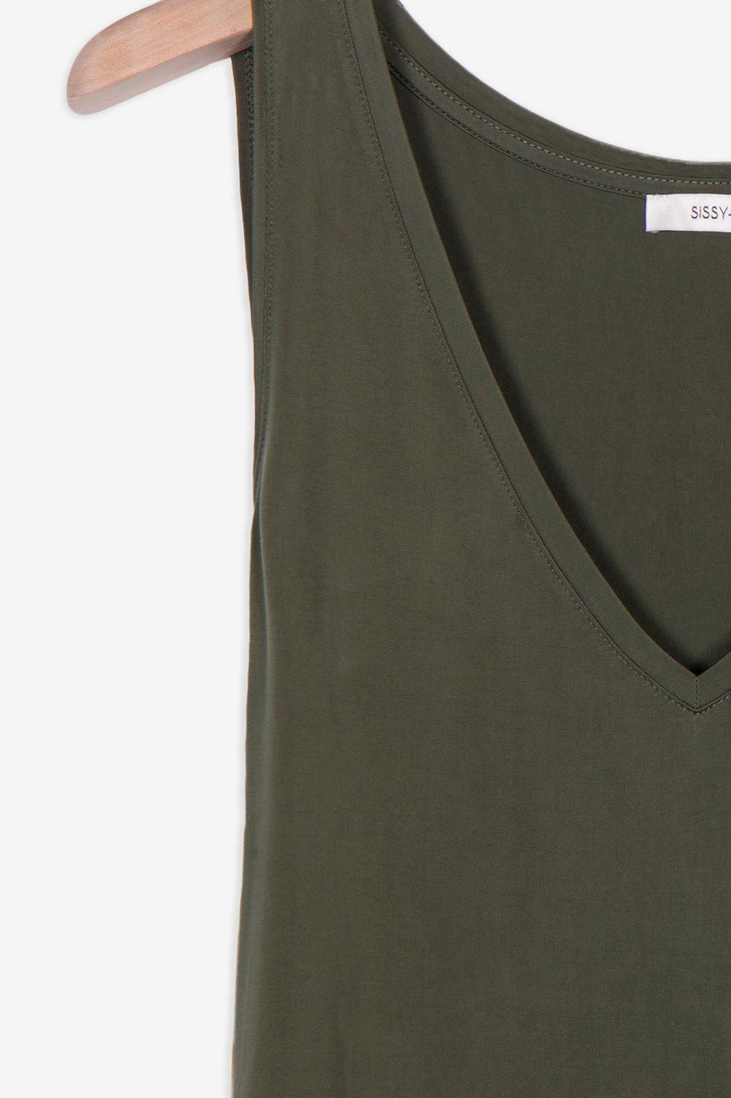Donkergroene cupro jurk