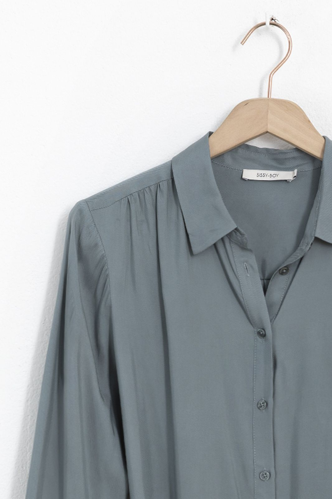 Blauwe cupro jurk met strikceintuur - Dames   Sissy-Boy