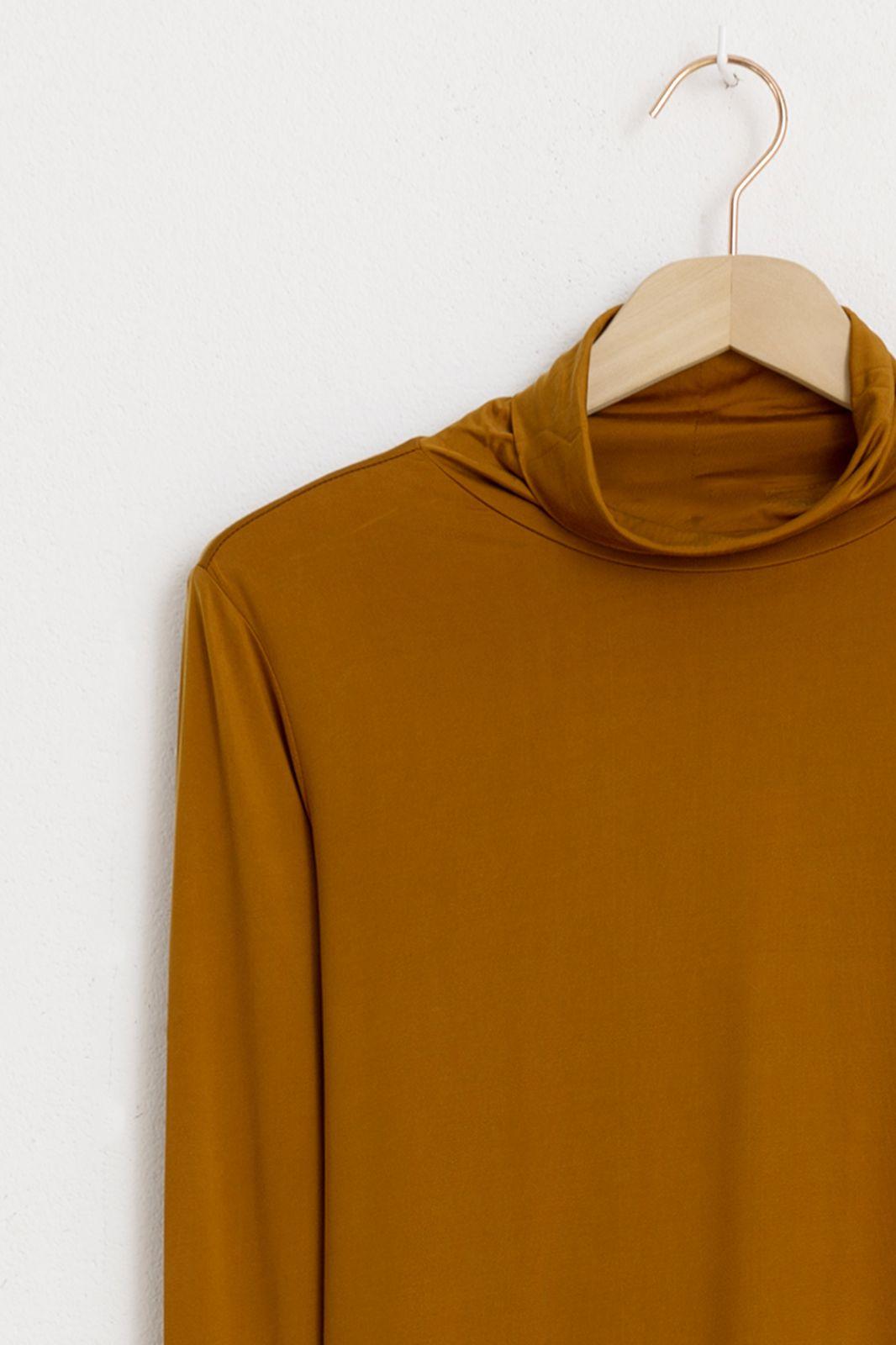Bruin t-shirt met met col en lange mouwen