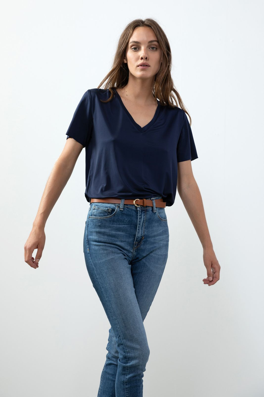Donkerblauw T-shirt met V-hals - Dames | Sissy-Boy