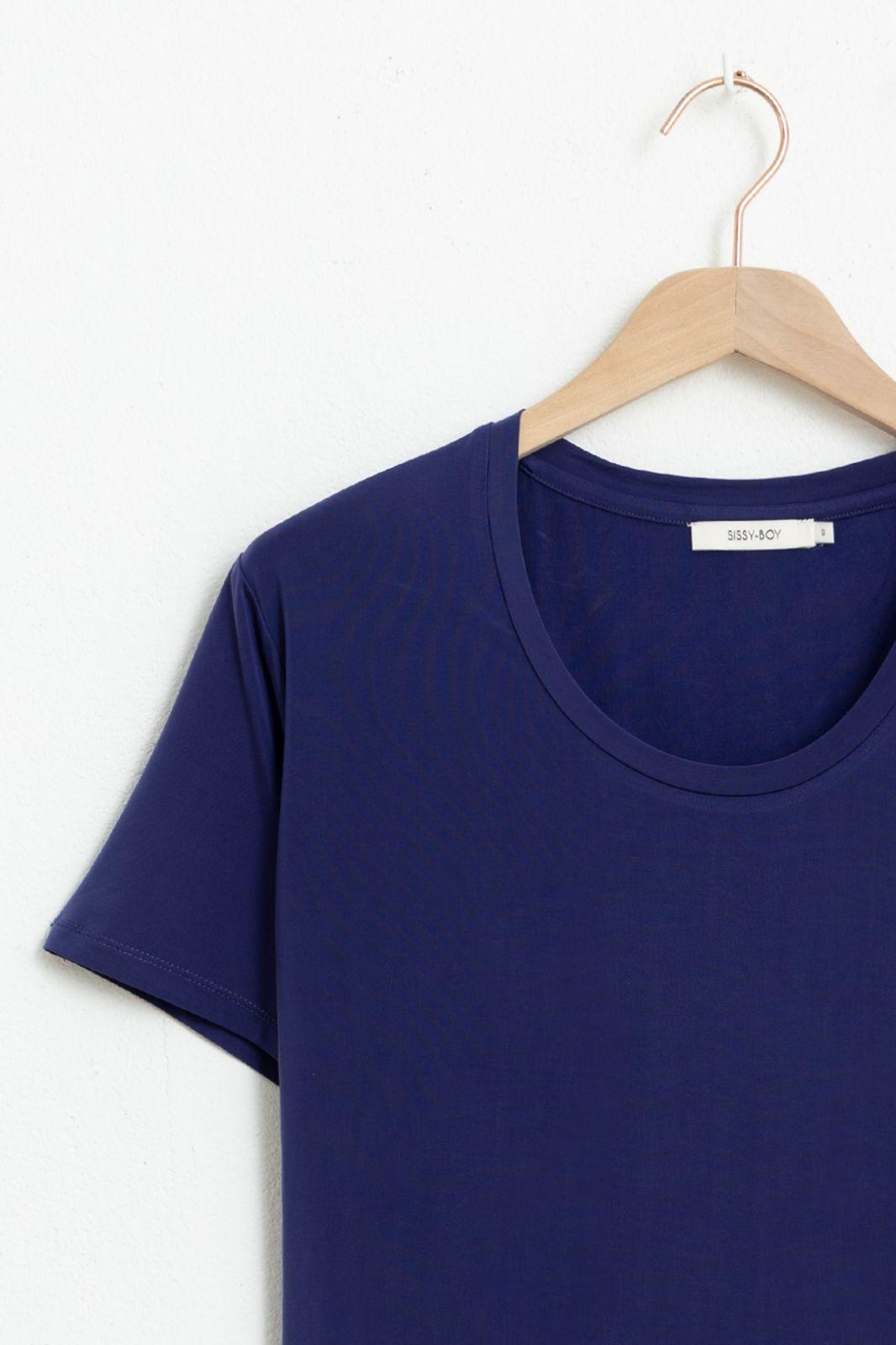 Donkerblauw cupro T-shirt