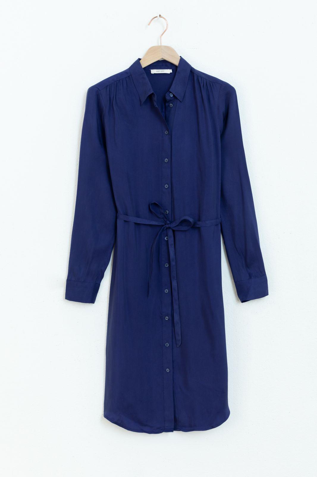 Blauwe cupro shirt dress - Dames | Sissy-Boy