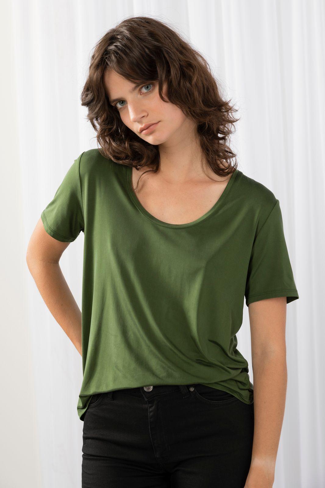 Donkergroen t-shirt cupro - Dames | Sissy-Boy