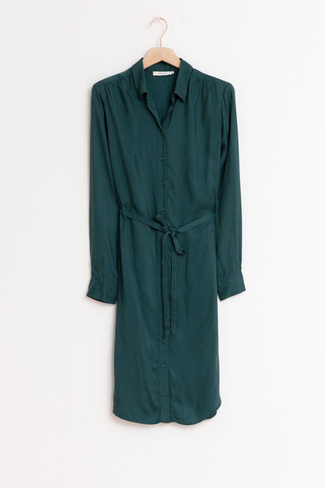 Donkergroene cupro viscose jurk - Dames | Sissy-Boy