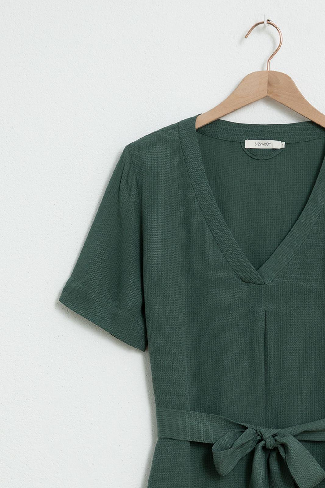 Groene cupro jurk met v-hals - Dames | Sissy-Boy
