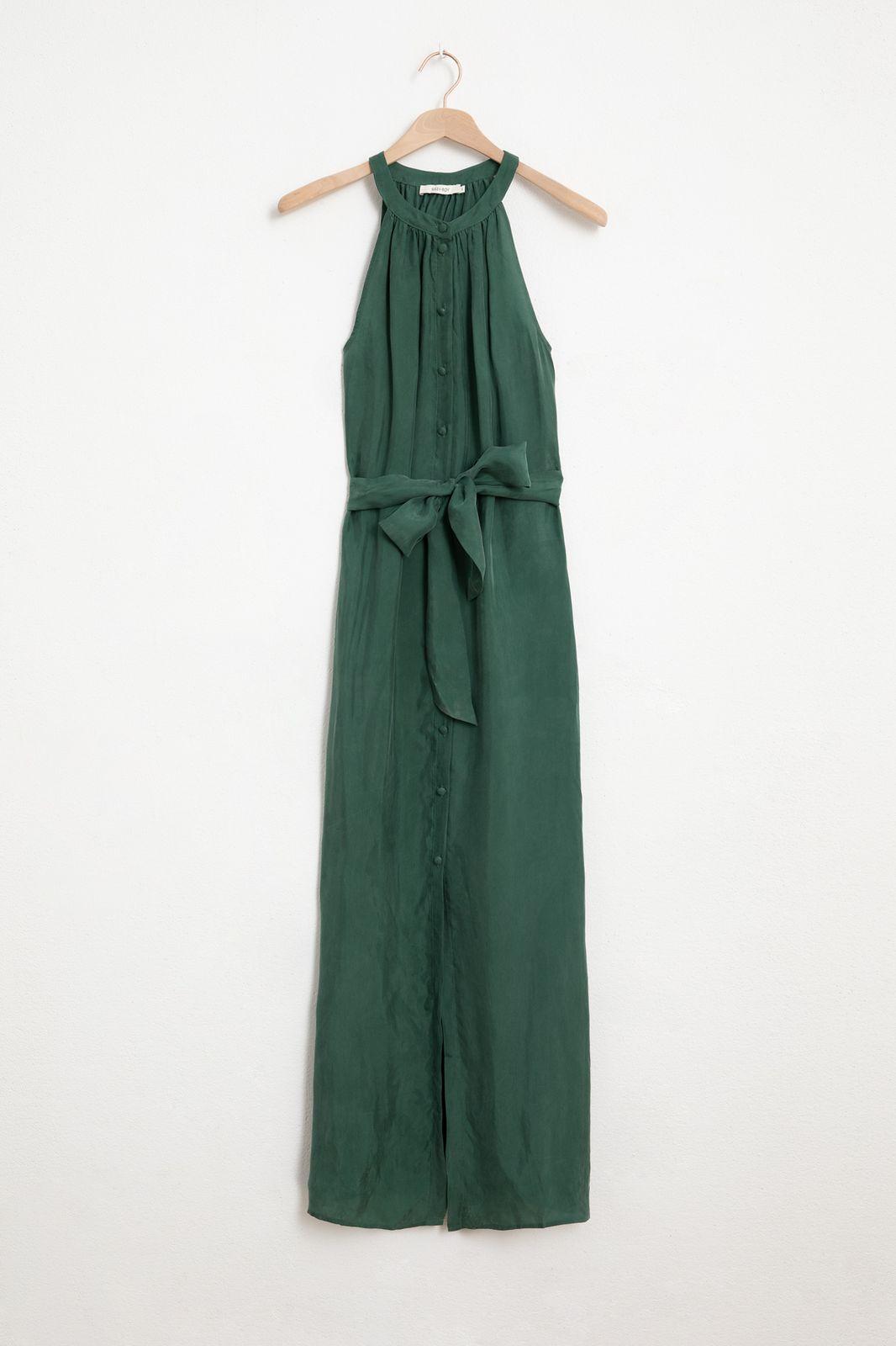 Groene mouwloze maxi jurk