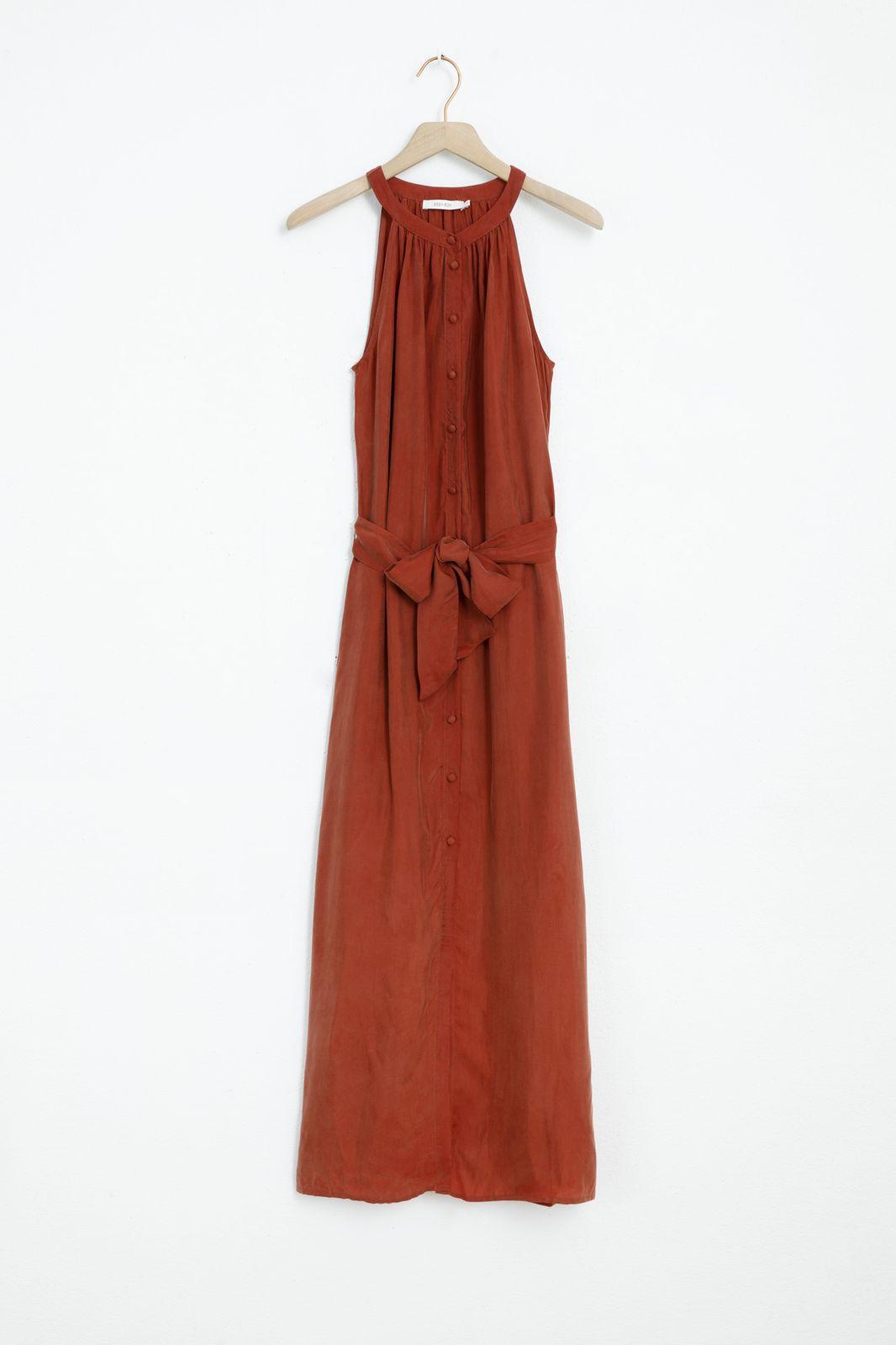 Steenrode mouwloze maxi jurk
