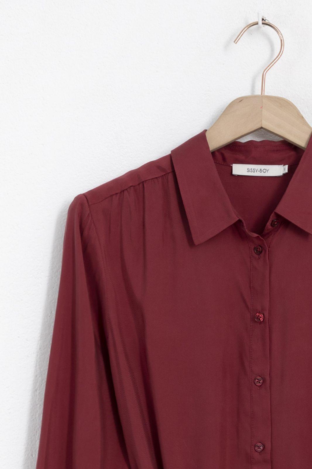 Donkerrode cupro jurk met strikceintuur - Dames   Sissy-Boy
