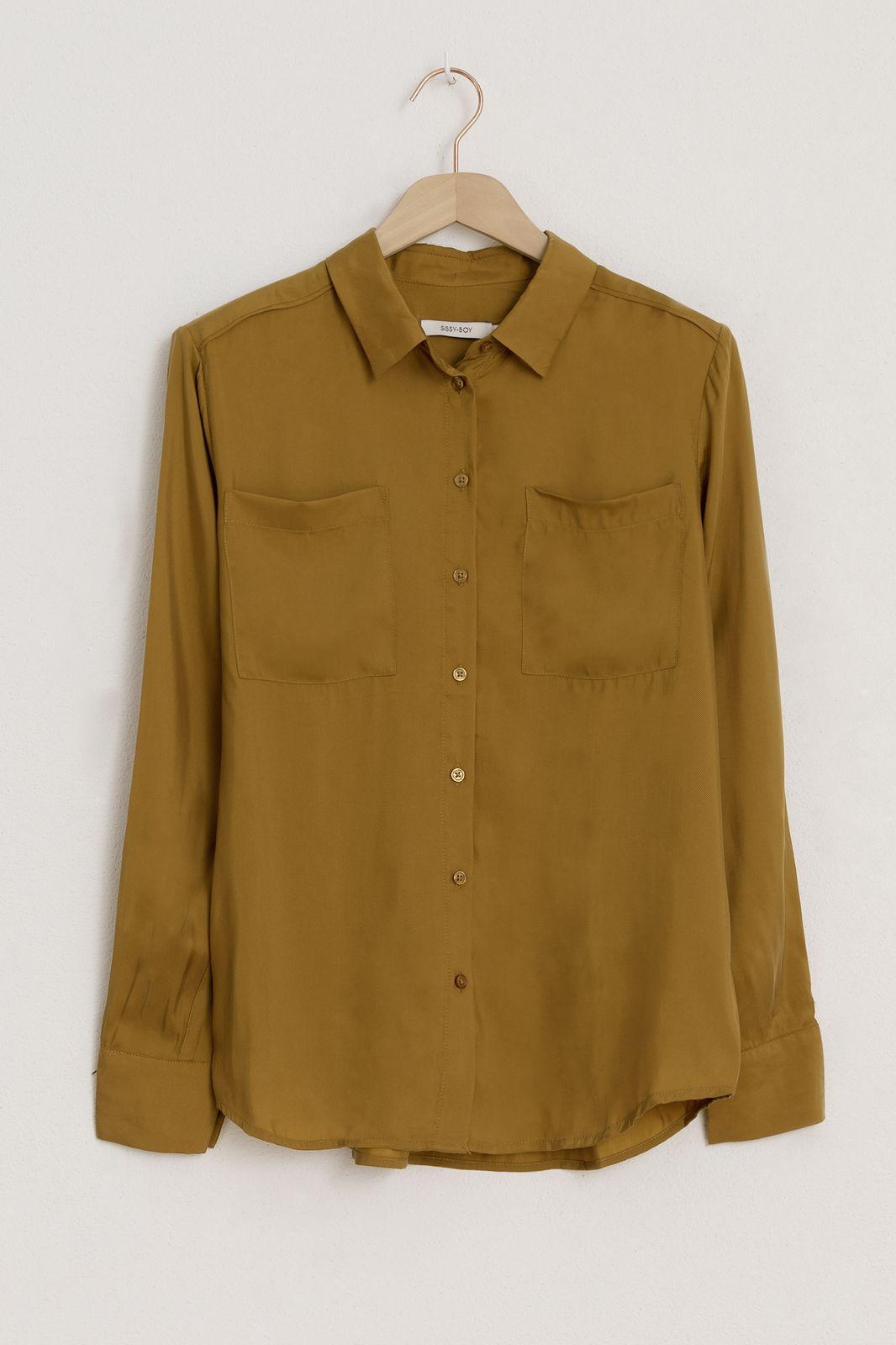 Groen/gele cupro blouse - Dames | Sissy-Boy