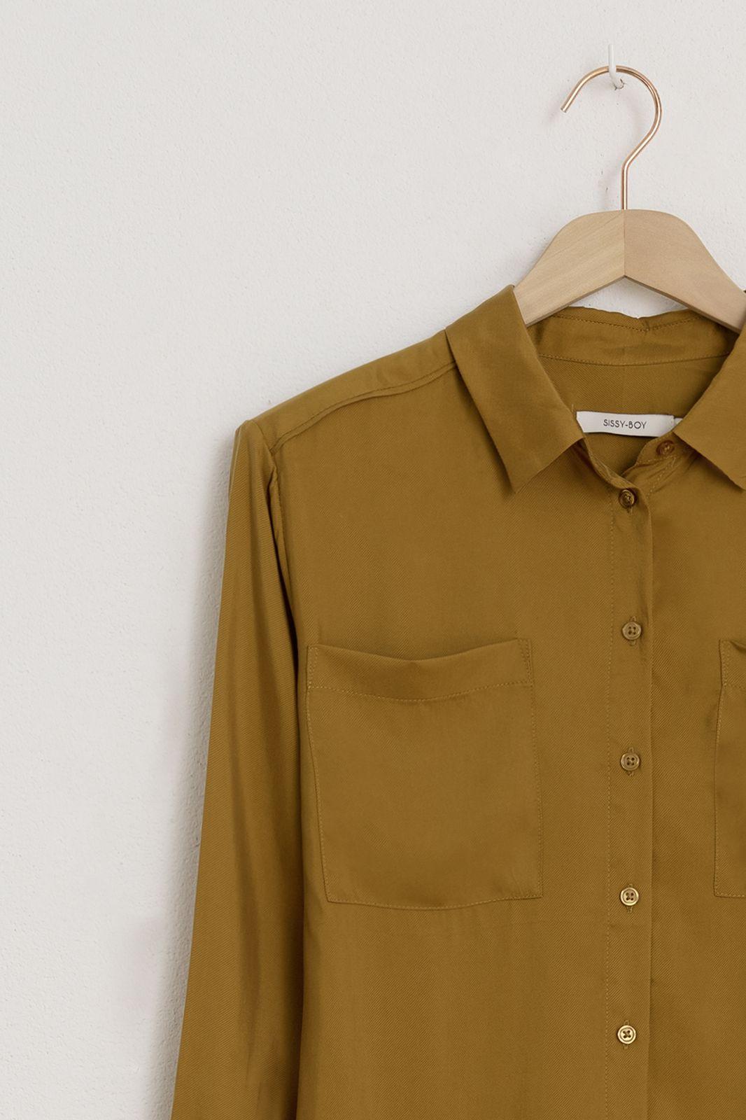 Groen/gele cupro blouse - Dames   Sissy-Boy