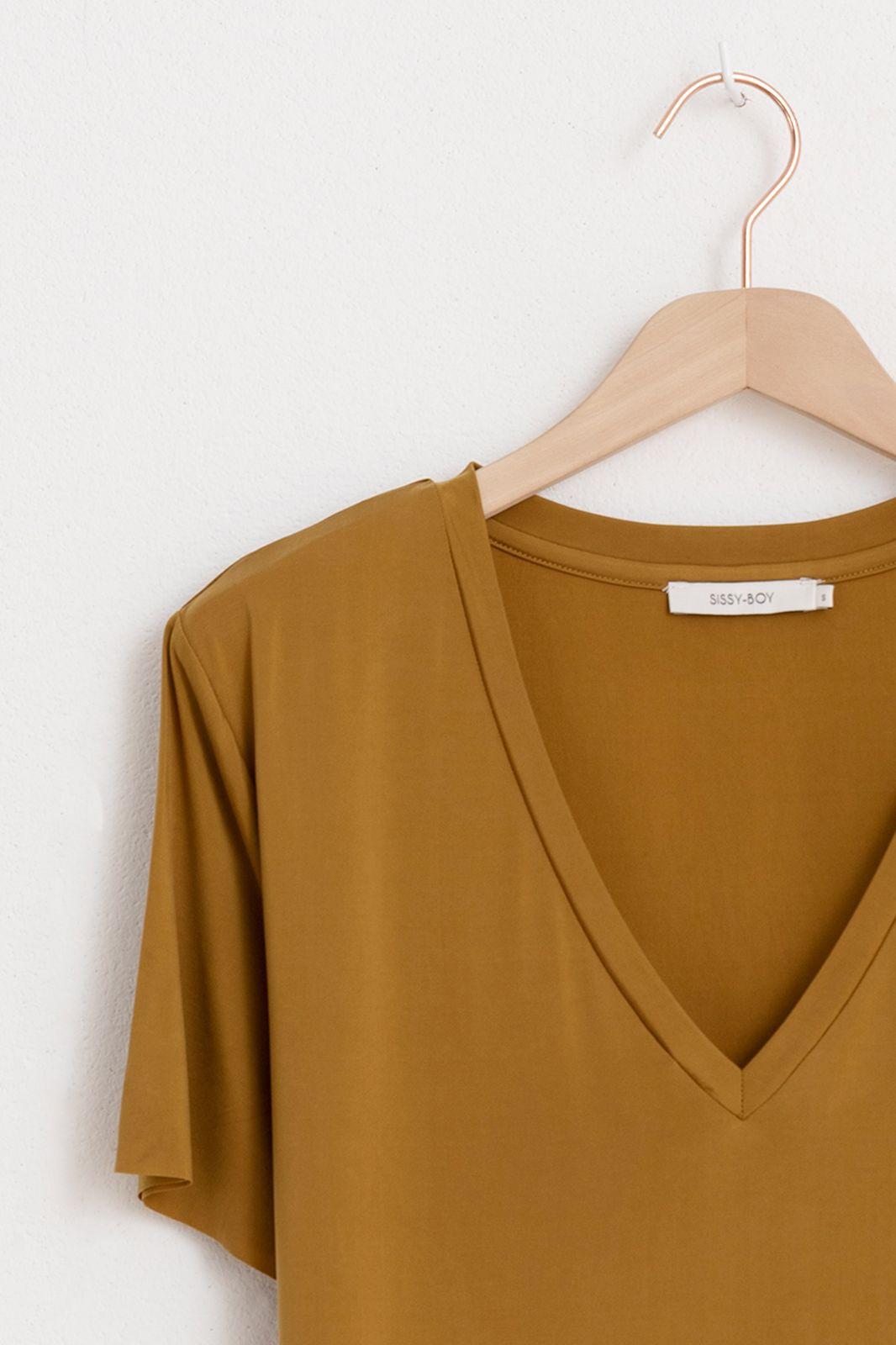 Groen/geel cupro t-shirt met v-hals