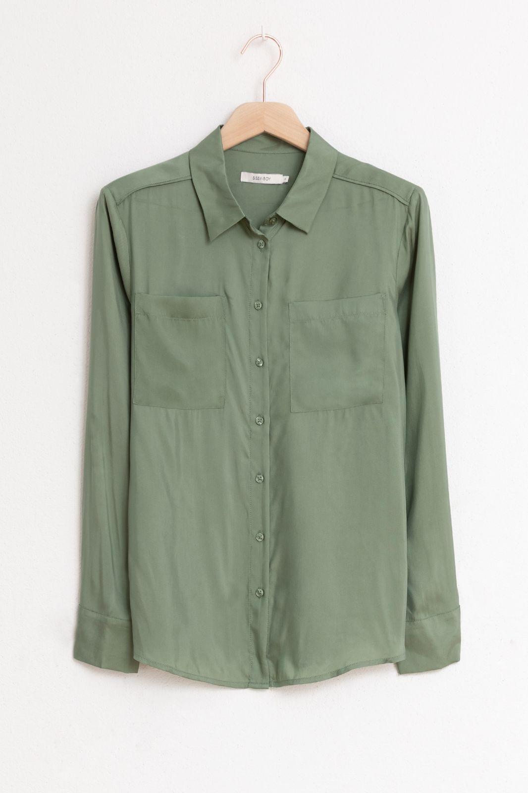 Groene cupro viscose blouse - Dames | Sissy-Boy