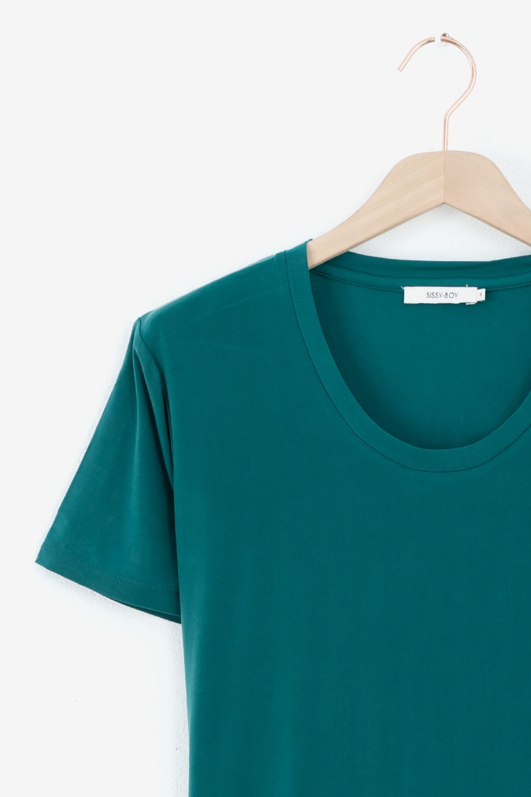 Donkergroen cupro T-shirt