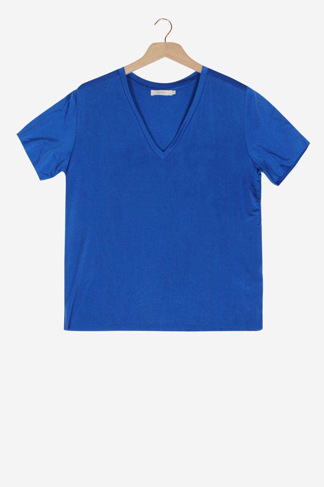 Kobalt blauw T-shirt met V-hals